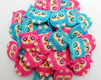 Lot 6 jibbitz owls (badges for fangs) to choose