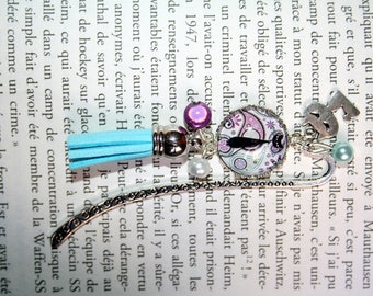 Black Cat on purple background bookmark, turquoise blue and white