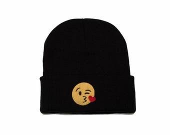 Emoji Beanie, Emoji Hat, Emoji Blow A Kiss, Emoji Gifts, Embroidered Beanie