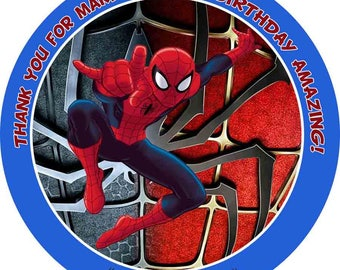 Spiderman Favor Tags, Bag Tags, Thank You Tags, Sticker. Digital (you print)
