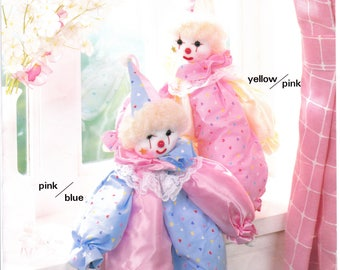 Clown Kit Happy Clown Pink and Blue Pattern and Materials to Make at 17 3/4 Inch Clown