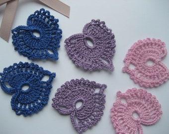 6 Crochet Hearts