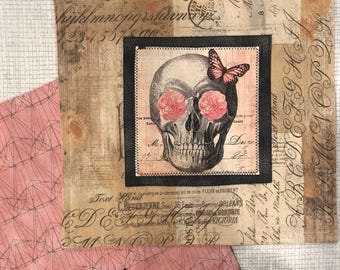 EDC Skull Hank with Postcard Fabric and Pink Flowers.