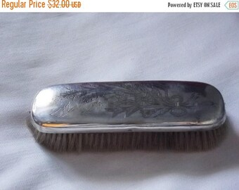 30% SALE Swedish Vintage Lovely Silver Plate Shoe Brush.  Engraved Monogram RH. Sweden 1940s.