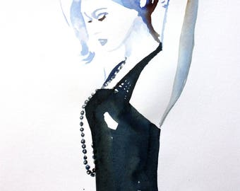 Art Painting Ink young woman with necklace black balls woman watercolor painting, woman, watercolor, Ink Painting watercolor art