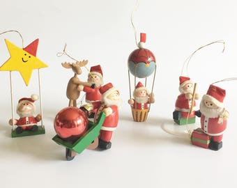Vintage Wood Santa Claus Ornament Pipe Cleaner Beard Wooden Christmas Ornaments Holiday Decoration Set of Six