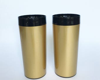 West Bend Gold Black Insulated Tumblers Vintage Thermo Serv Drink Glasses Set of Two