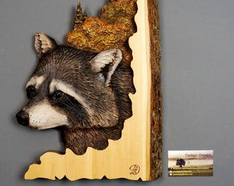Raccoons Carved on Wood Wood Relief Sculpture Hand Painted Unique Wood Art Handmade  OOAK Wedding Gift Wall hahging Art by DavydovArt