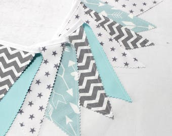 Bunting Fabric Banner, Fabric Flags, Mint Green, Teal, Grey, Gray, Baby Shower,Nursery Decor, Newborn props, Minimalist  Nursery
