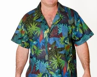 Feak Shirt for Men Tropical Rainforest Print, Hawaiian Shirt, Tropical Rainforest Shirt, Mens Hawaiian Shirt, Tropical Rainforest Shirt