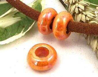 orange ceramic European bead for 5-6mm leather