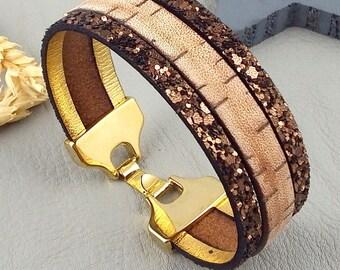 Vintage and fantasia strape flashed clasp leather bracelet tutorial Kit gold