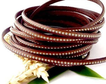 Brown flat leather with brass 6mm by 20cm beads