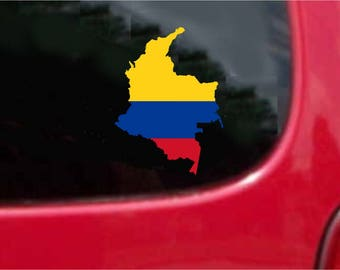 Colombia Outline Map Flag Vinyl Decals Stickers Full Color/Weather Proof. U.S.A Free Shipping