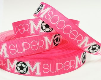 "7/8"" inch SOCCER Mom SUPER Mom Pink White Black Sports Printed Grosgrain Ribbon for Hair Bow - Original Design"