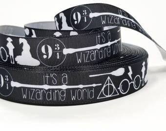 "7/8"" inch Magic World Wizard -  Black  -  Printed Grosgrain Ribbon for Hair Bow - Original Design"