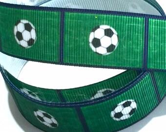 7/8 inch Soccer Ball Field Green Navy Blue Trim Printed Grosgrain Ribbon for Hair Bow  Sports - Original Design