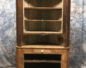 Corner Cabinet Display Case Country Store Kitchen Pantry Cupboard Counter a