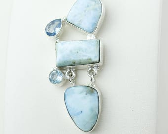 Best Deal! Larimar Swiss Blue Topaz 925 S0LID Sterling Silver Pendant + 4MM Snake Chain p4176