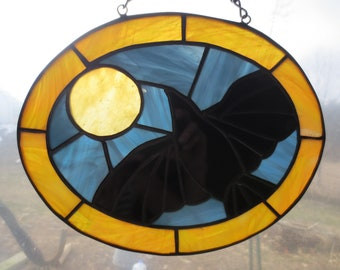 Crow Raven Wicca Pagan Witchy Stained Glass Suncatcher