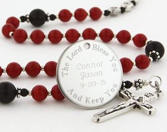 Boy Baptism Rosary, Personalized Rosary, Rosary, Catholic Rosary, Christening Gift, Baptism Gift, Rosary Beads, Catholic Gift, SweetRBLp