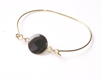 Gaia black enamel Bangle Bracelet