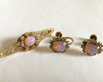 Beautiful Tru-Kay Gold Filled Victorian Screw Back Opal & Rhinestone Earrings and Bar Pin Brooch