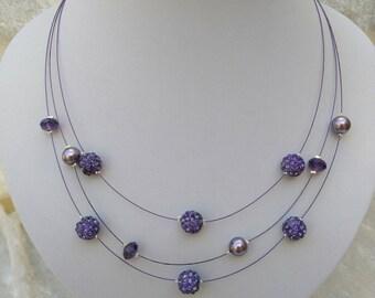 Wedding necklace three rows of purple