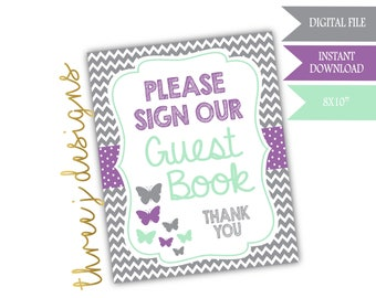 Butterfly Baby Shower Guest Book Table Sign - INSTANT DOWNLOAD - Gray, Lavender and Mint - Digital File - J005