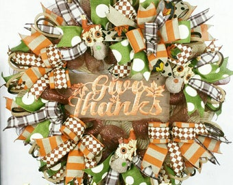 Fall Wreath, Thanksgiving Wreath, Fall Wreath, Fall Owls Wreath, Fall Deco Mesh Wreath, Fall Ribbon Wreath, Fall Thanksgiving Wreath