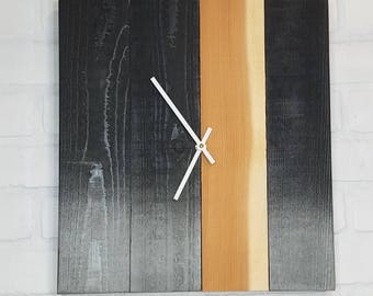 Large Wood Wall Clock - Midnight Seafoam