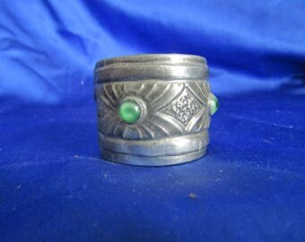 Metal Napkin Ring with Green Cabochons