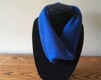 Upcycled cashmere cowl #63. Deep blue felted cashmere neckwarmer. Single loop cashmere infinity scarf.
