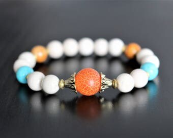 Gemstone bracelet, fossile stone and orange frosted agate