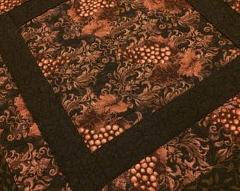 Brown table topper, quilted table topper, square table topper, grapevine table topper, dark brown table topper, quilted table topper