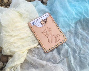 Hand Made leather Cat carved Card Holder Business or credit card mini wallet