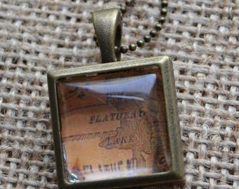 Brass Locket with Flathead Lake, MT with Chain