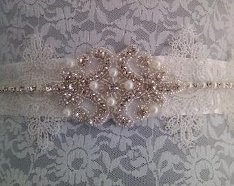 Pretty off white satin wedding belt