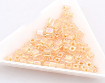 jewelry making couples for necklace bracelet Cube Beads square beads 4mm Pitch (Rainbow) (282C) [30g]