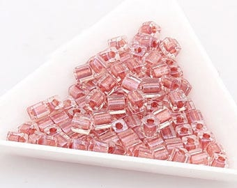 jewelry making couples for necklace bracelet Cube Beads square beads 4mm Red Brown (Crystal) (2601) [30g]