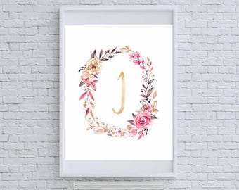 "Floral Gold Glitter Monogram ""I"" Art Print"