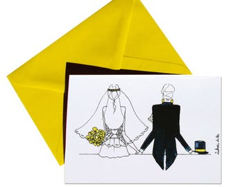 Folded thank you card, back married, Daffodil yellow envelope.