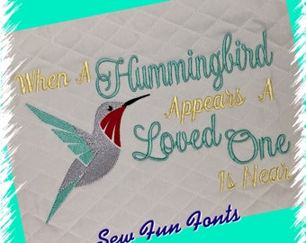 Hummingbird Appears A Loved One Is Near, 2 Sizes, Embroidery Saying, Reading Pillow Saying, Subway Art, Embroidery Design INSTANT DOWNLOAD