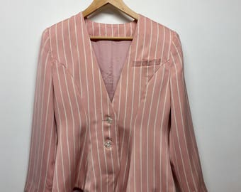 Size 10 Vintage Pink and White Striped Blazer