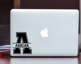 Custom Name (Monogram) Vinyl Decal Sticker Choose your Color and Size - Choose your Name and Letter
