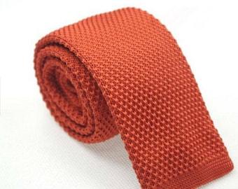 Orange Knit Necktie Mens Knitted Tie Skinny Tie Wedding Necktie Gift for Men Skinny Knitted Tie Knit