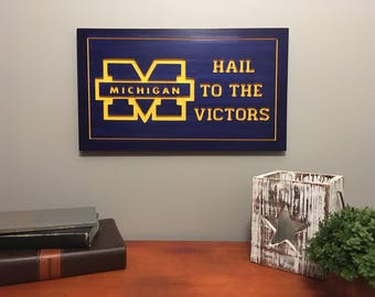 University of Michigan Sign-Michigan-Wolverines-University of Michigan-Carved Sign-Wooden Sign-Stained