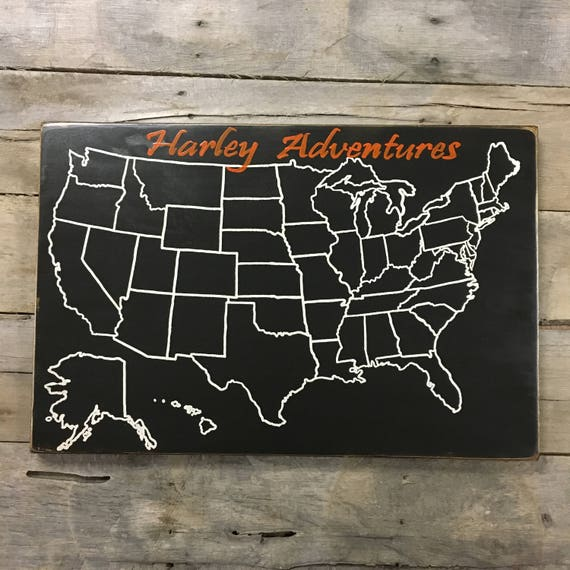 Travel Map Harley Motorcycle US Wood Map USA Travel - Usa travel map with pins