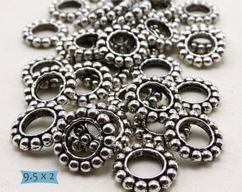 Granulated Pewter Spacer Ring Beads--20 Pcs | 24-SU113-20