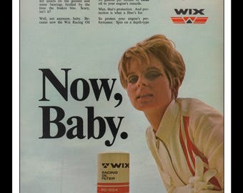 """Vintage Print Ad 1960s : Wix Racing Oil Filter Automobile Car Wall Art Decor 8.5"""" x 11"""" each Advertisement"""